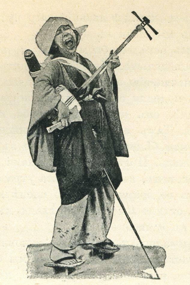 mendiant jouant du shamisen